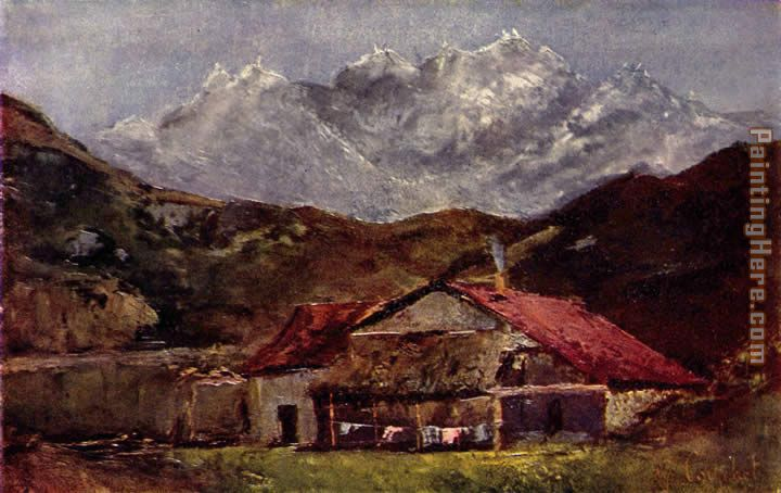 The mountain hut painting - Gustave Courbet The mountain hut art painting