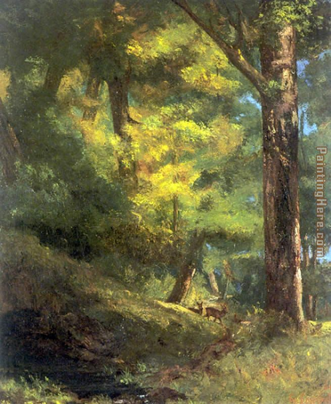 Gustave Courbet Two Goats in the Forest Art Painting