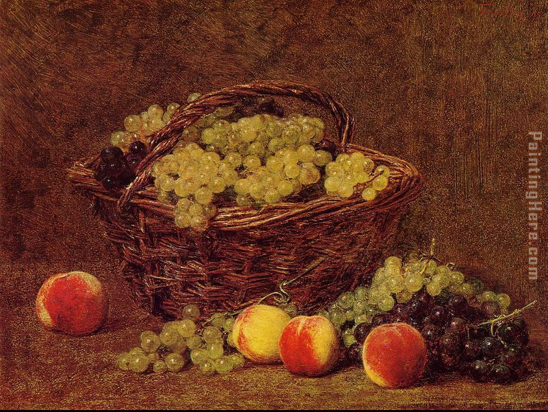 Basket of White Grapes and Peaches painting - Henri Fantin-Latour Basket of White Grapes and Peaches art painting