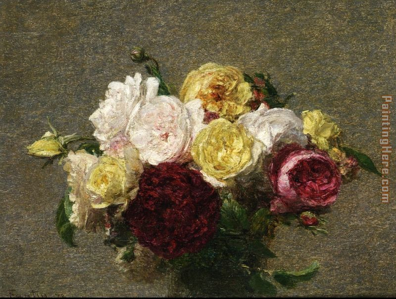 Bouquet of Roses I painting - Henri Fantin-Latour Bouquet of Roses I art painting