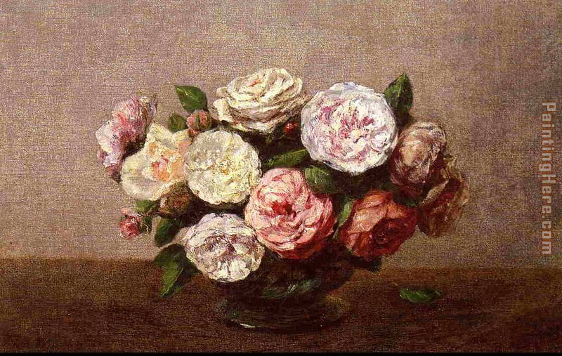 Henri Fantin-Latour Bowl of Roses Art Painting