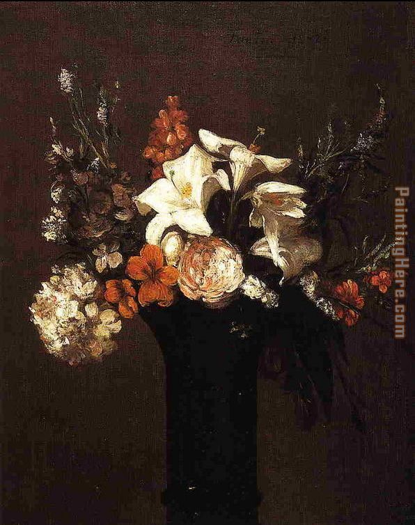 Flowers I painting - Henri Fantin-Latour Flowers I art painting