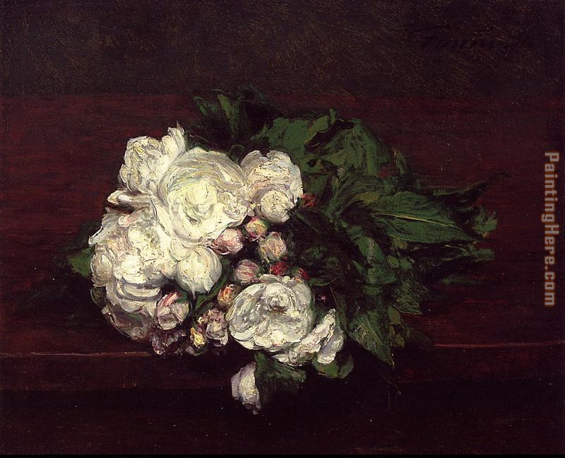Flowers White Roses painting - Henri Fantin-Latour Flowers White Roses art painting