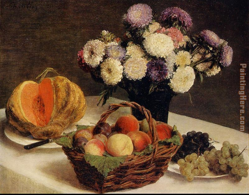 Flowers and Fruit a Melon painting - Henri Fantin-Latour Flowers and Fruit a Melon art painting
