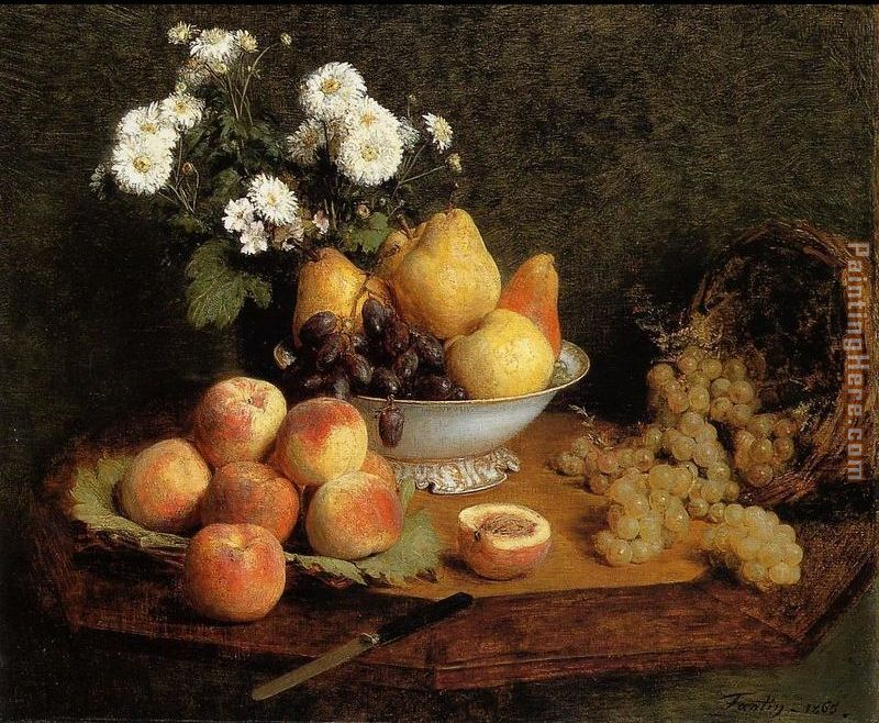 Henri Fantin-Latour Flowers and Fruit on a Table Art Painting