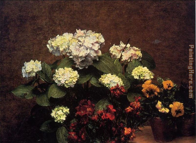 Hydrangias Cloves and Two Pots of Pansies painting - Henri Fantin-Latour Hydrangias Cloves and Two Pots of Pansies art painting