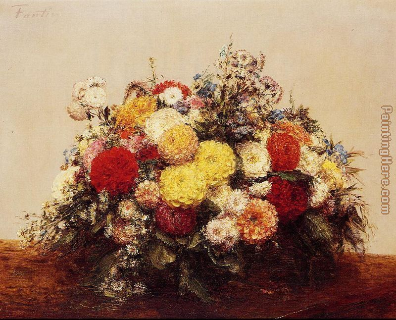 Large Vase of Dahlias and Assorted Flowers painting - Henri Fantin-Latour Large Vase of Dahlias and Assorted Flowers art painting