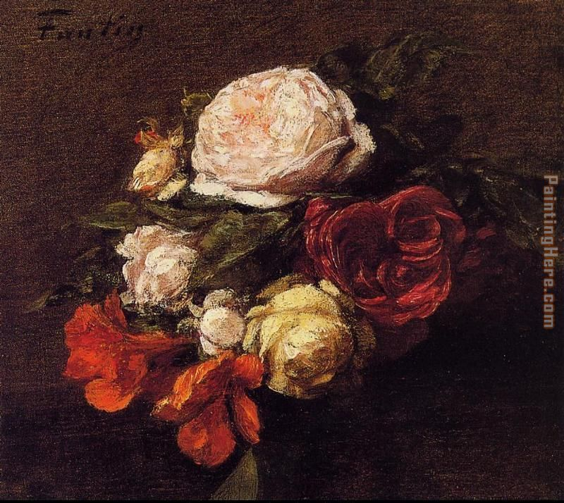 Roses and Nasturtiums painting - Henri Fantin-Latour Roses and Nasturtiums art painting