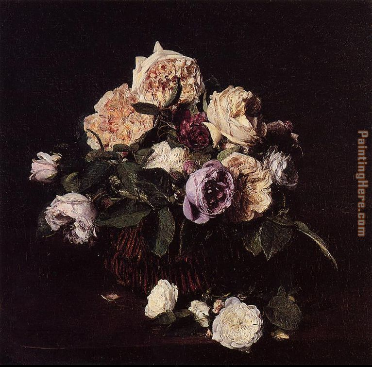 Roses in a Basket on a Table painting - Henri Fantin-Latour Roses in a Basket on a Table art painting