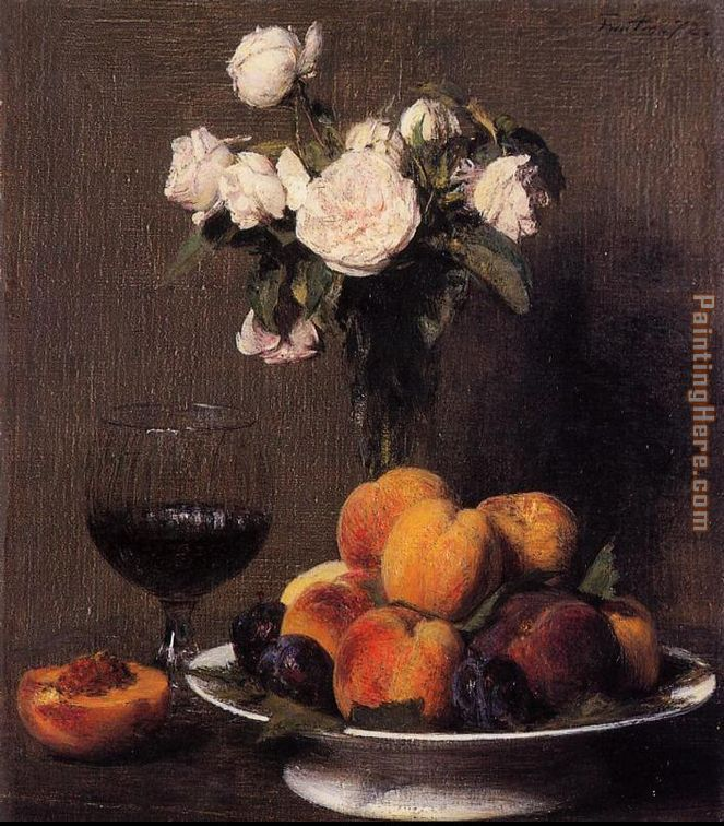 Still Life with Roses Fruit and a Glass of Wine painting - Henri Fantin-Latour Still Life with Roses Fruit and a Glass of Wine art painting