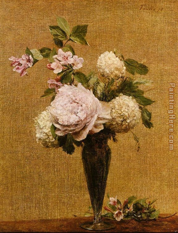 Henri Fantin-Latour Vase of Peonies and Snowballs Art Painting
