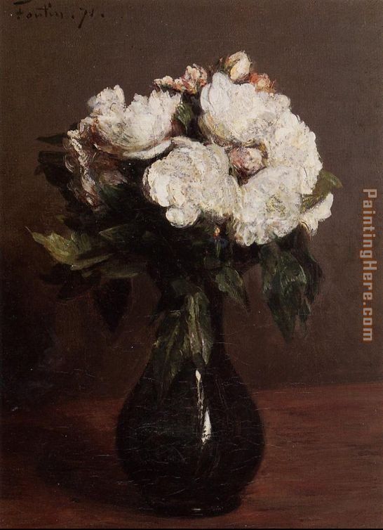 Henri Fantin Latour White Roses In A Green Vase Painting Anysize 50