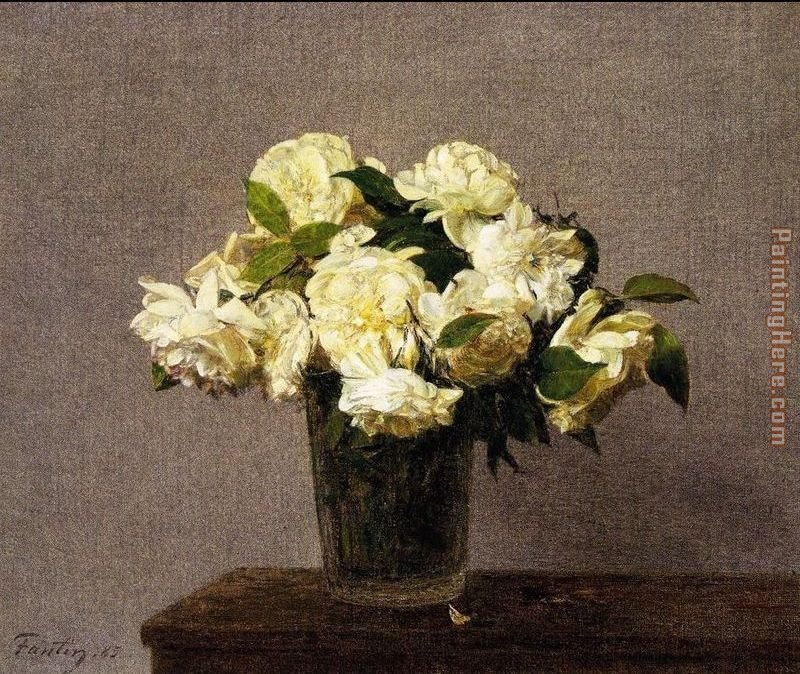 Henri Fantin Latour White Roses In A Vase Painting Anysize 50 Off