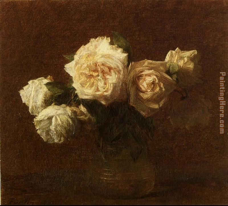Henri Fantin-Latour Yellow Pink Roses in a Glass Vase Art Painting