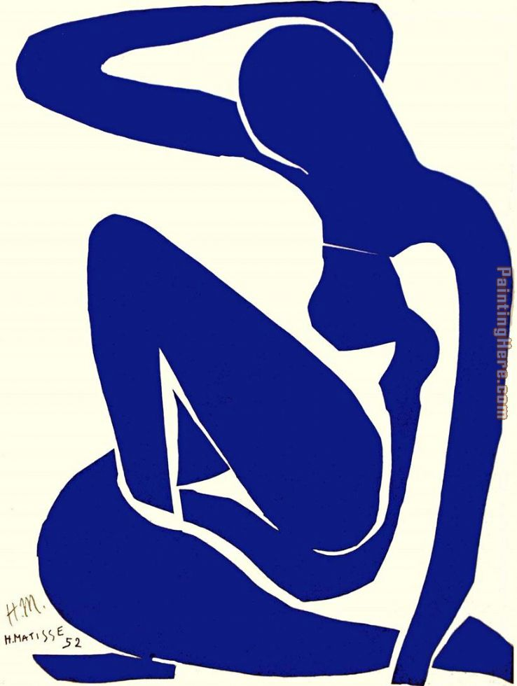 Blue Nude I 1952 painting - Henri Matisse Blue Nude I 1952 art painting