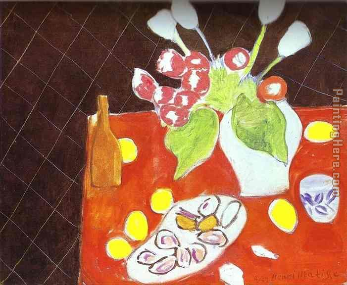 Henri Matisse Tulips and Oysters on Black Background Art Painting