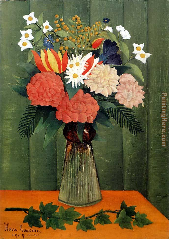 Bouquet of Flowers with an Ivy Branch painting - Henri Rousseau Bouquet of Flowers with an Ivy Branch art painting