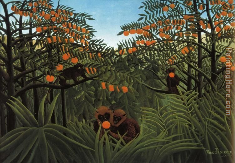Monkeys in the Jungle painting - Henri Rousseau Monkeys in the Jungle art painting