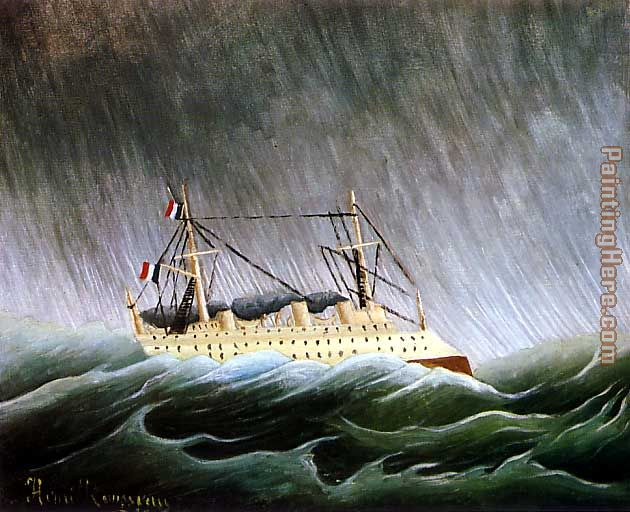 The Boat in the Storm painting - Henri Rousseau The Boat in the Storm art painting