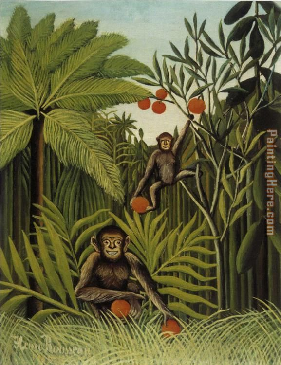 Henri Rousseau Two Monkeys in the Jungle Art Painting