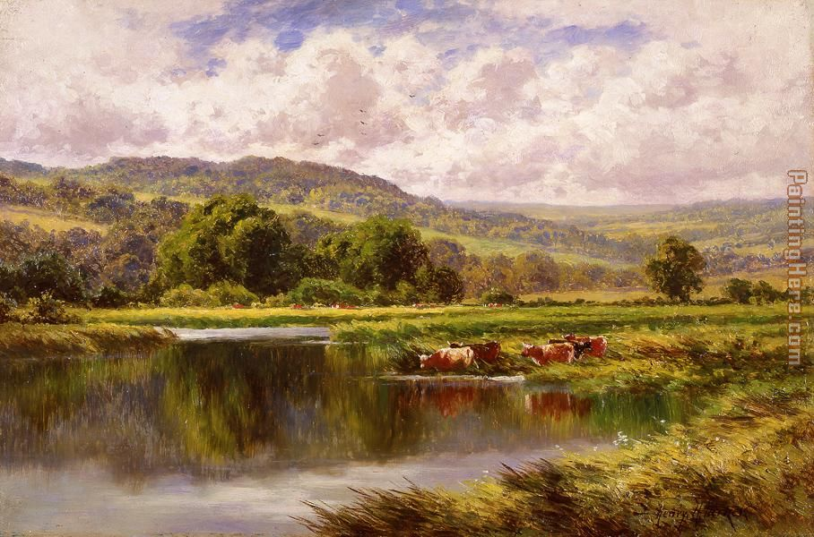 The River Mole, Dorking Surrey painting - Henry H. Parker The River Mole, Dorking Surrey art painting