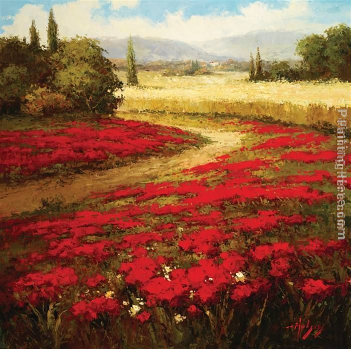 Red Poppy Trail painting - Hulsey Red Poppy Trail art painting