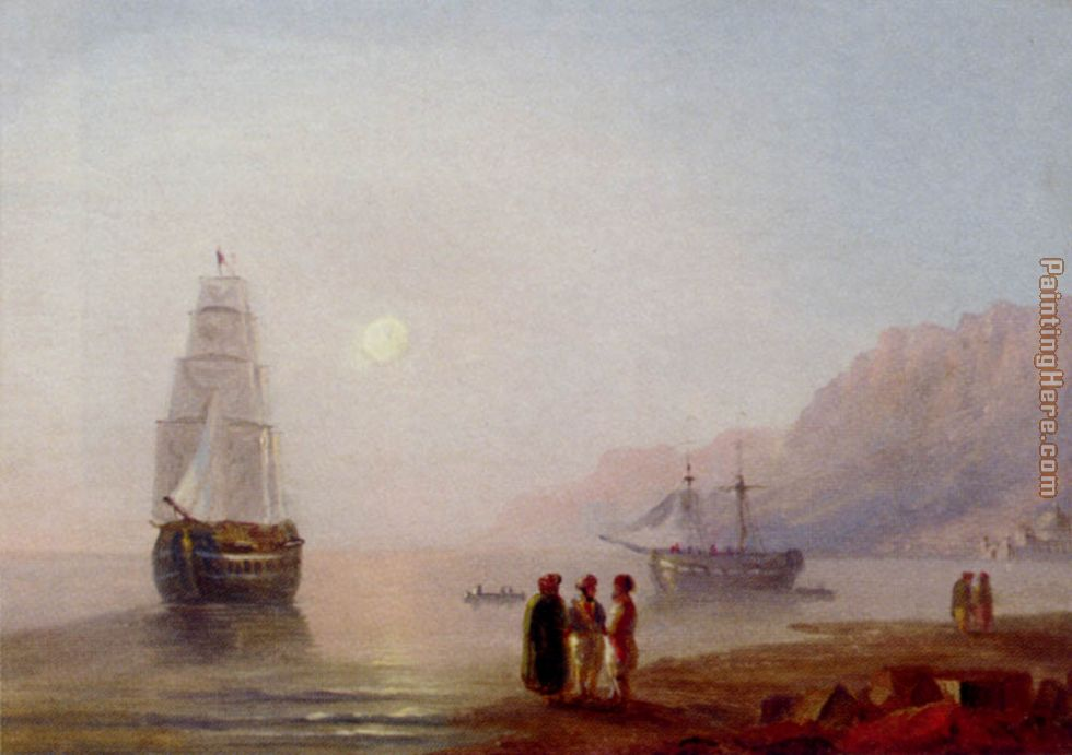 Ivan Constantinovich Aivazovsky A Conversation On The Shore Dusk Art Painting
