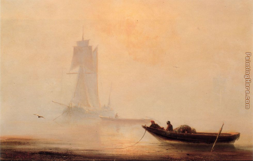 Fishing Boats In A Harbor painting - Ivan Constantinovich Aivazovsky Fishing Boats In A Harbor art painting