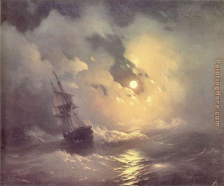 Storm in the Sea at Night painting - Ivan Constantinovich Aivazovsky Storm in the Sea at Night art painting