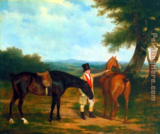 Jacques Laurent Agasse Two Hunters with a Groom Art Painting