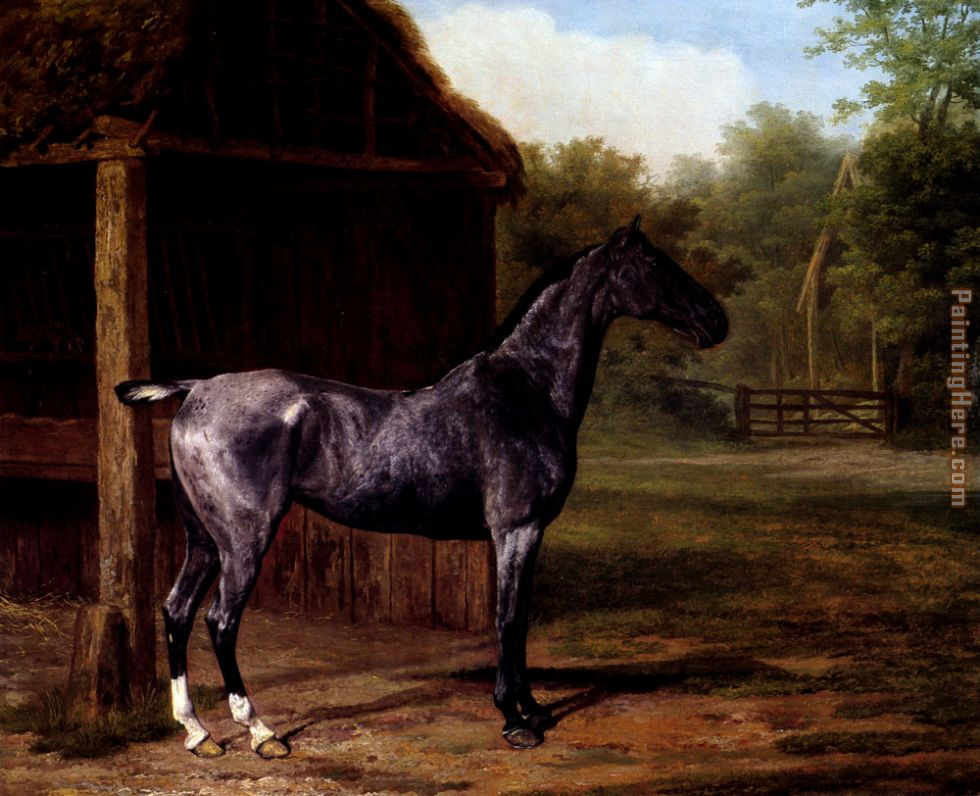 lord Rivers' Roan mare In A Landscape painting - Jacques Laurent Agasse lord Rivers' Roan mare In A Landscape art painting