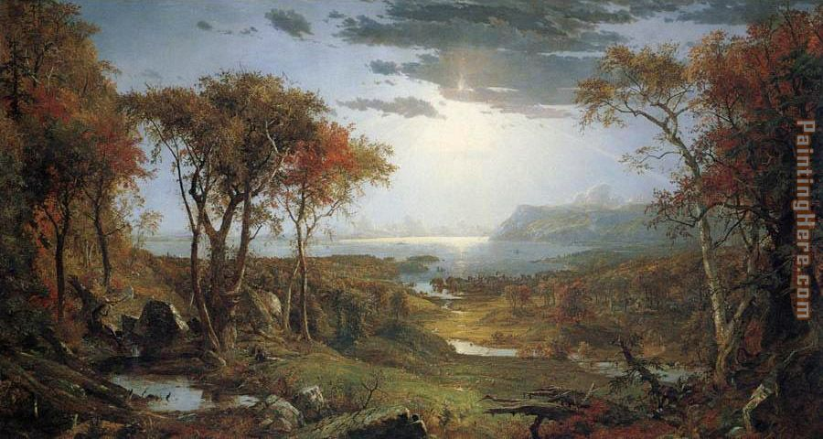 Autnmn on the Hudson River painting - Jasper Francis Cropsey Autnmn on the Hudson River art painting