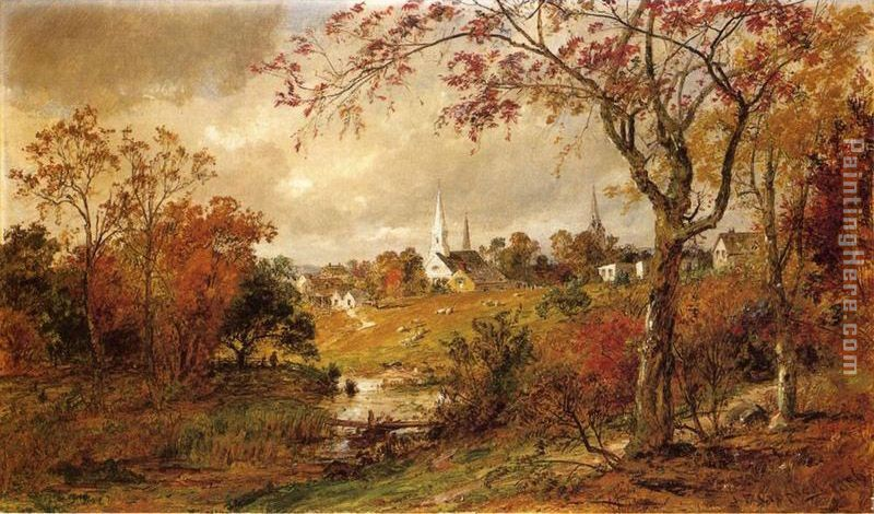 Autumn Landscape - Saugerties, New York painting - Jasper Francis Cropsey Autumn Landscape - Saugerties, New York art painting