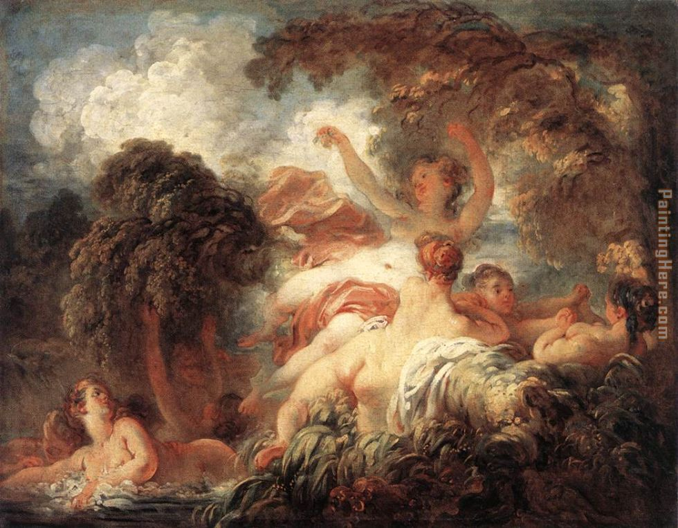 The Bathers painting - Jean Fragonard The Bathers art painting