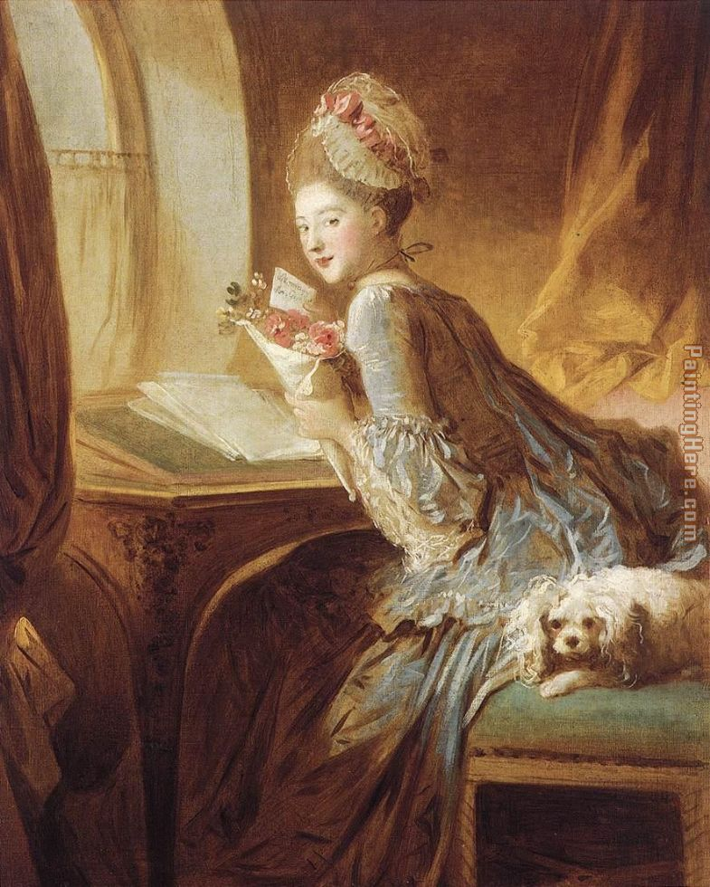 The Love Letter painting - Jean Fragonard The Love Letter art painting