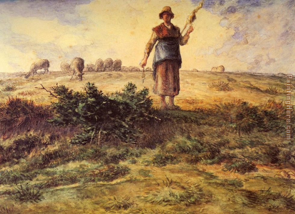 A Shepherdess and her Flock painting - Jean Francois Millet A Shepherdess and her Flock art painting