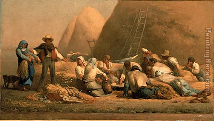 Harvesters Resting painting - Jean Francois Millet Harvesters Resting art painting