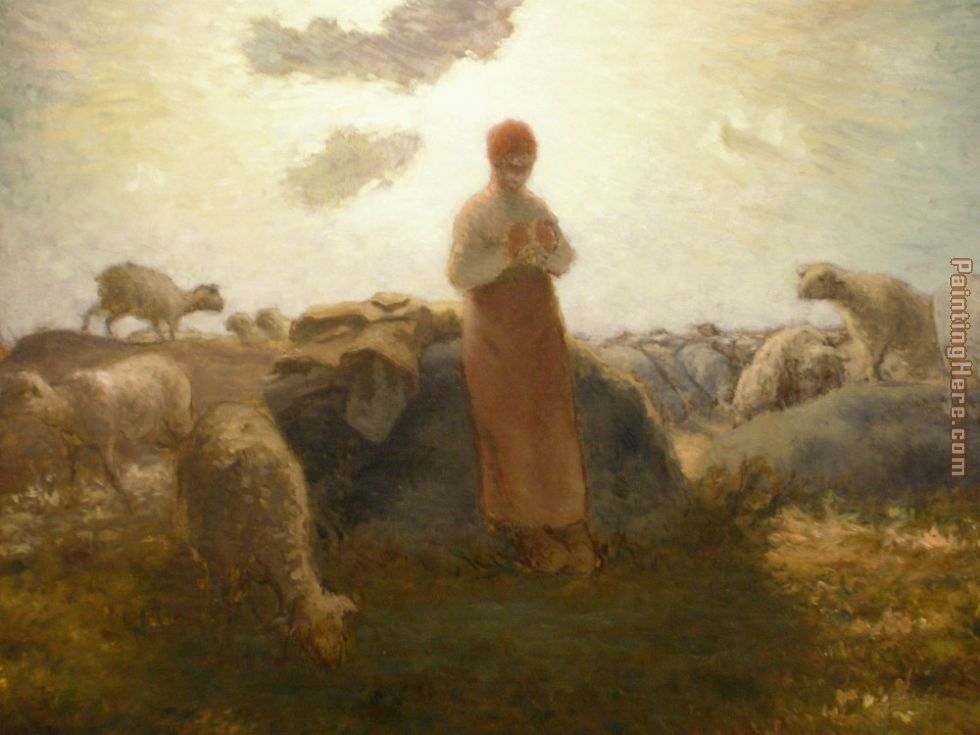 Keeper of the Herd painting - Jean Francois Millet Keeper of the Herd art painting