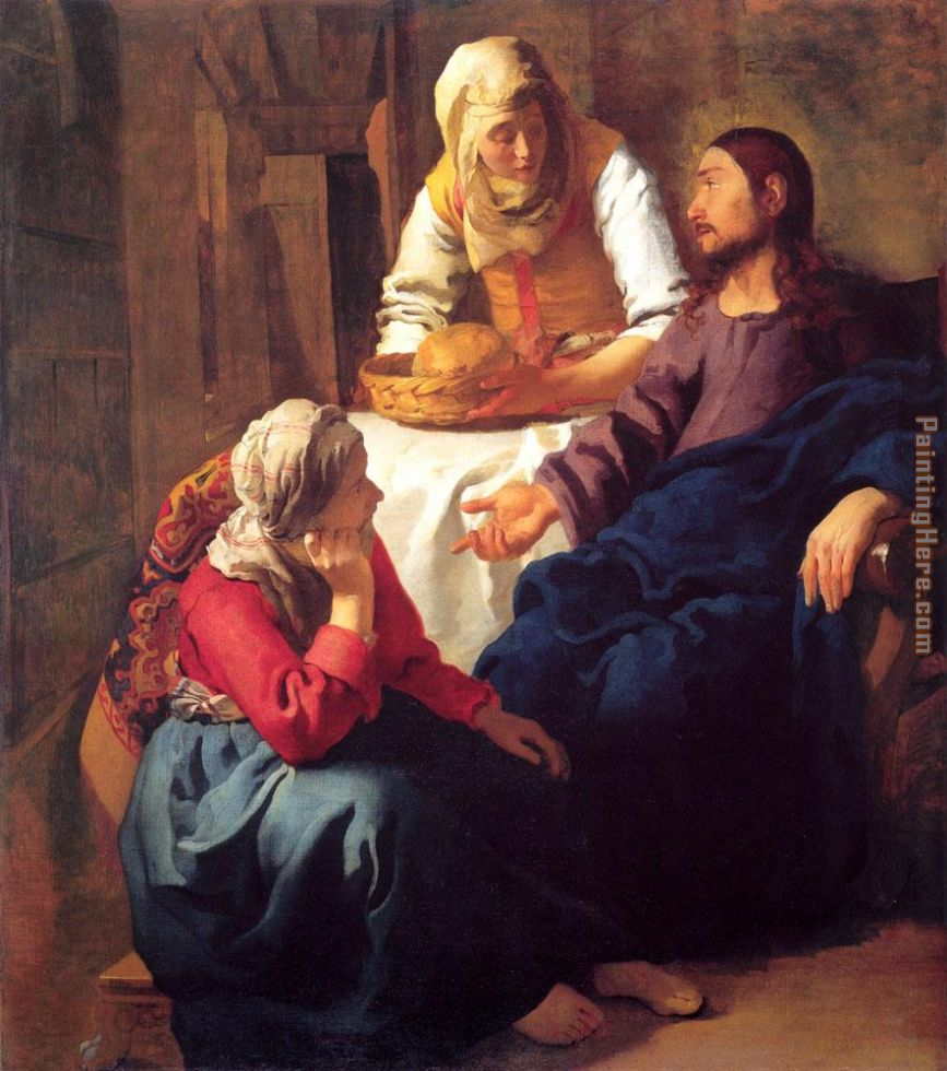 Christ in the House of Mary and Martha painting - Johannes Vermeer Christ in the House of Mary and Martha art painting