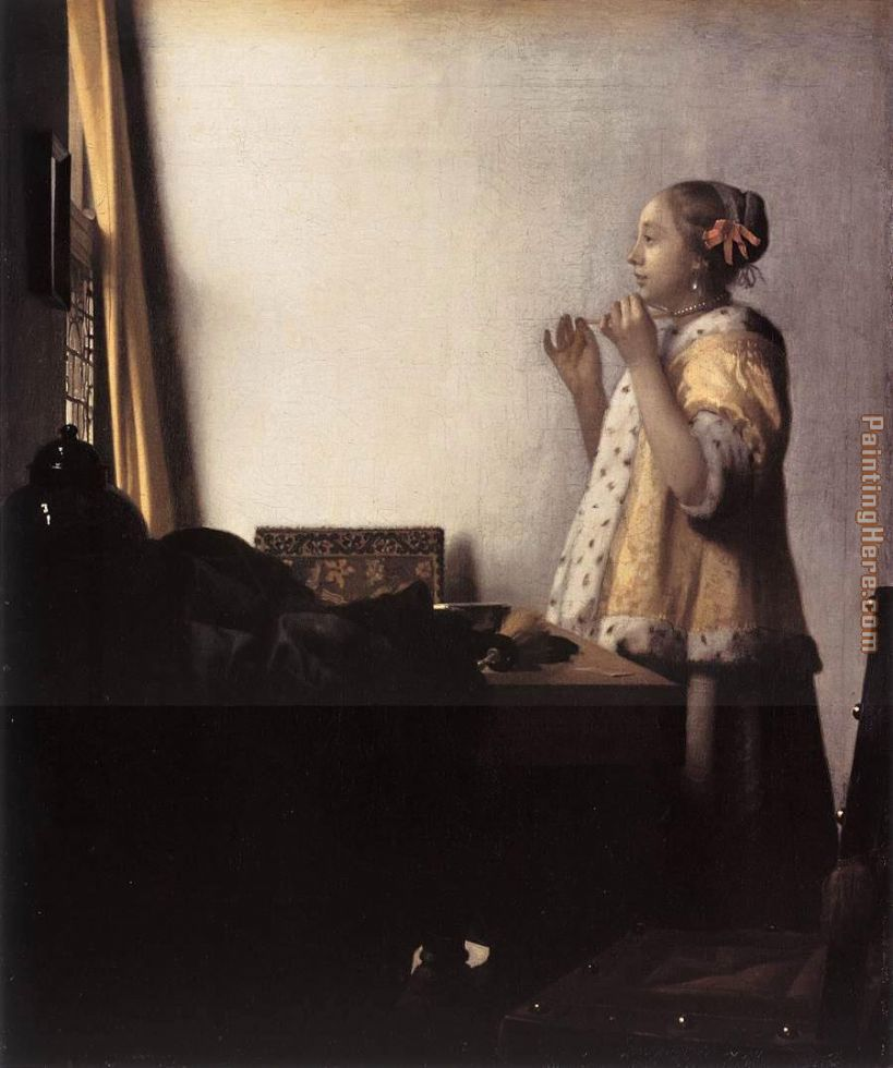 Woman with a Pearl Necklace painting - Johannes Vermeer Woman with a Pearl Necklace art painting