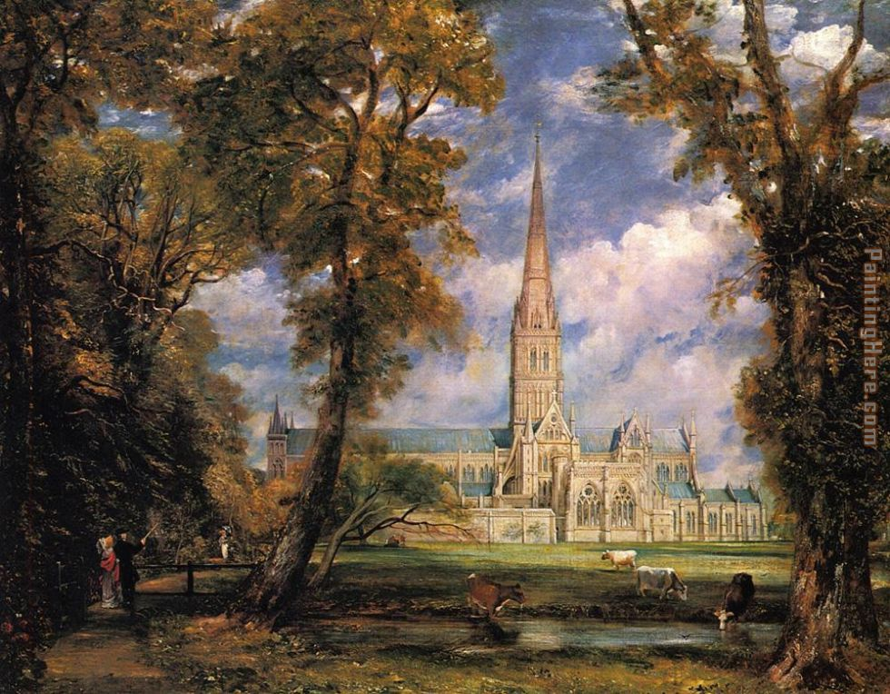 Salisbury Cathedral from the Bishops' Grounds painting - John Constable Salisbury Cathedral from the Bishops' Grounds art painting
