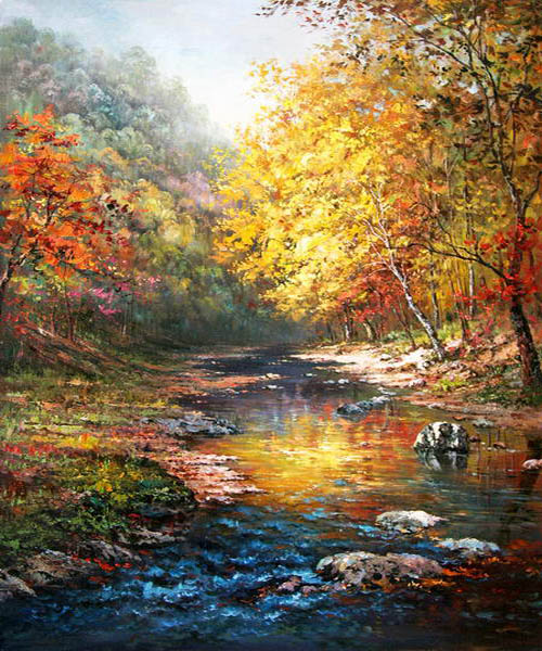John Ottis Adams Beautiful trees with a quiet river Art Painting