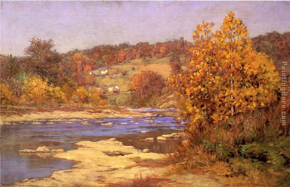 John Ottis Adams Blue And Gold Painting Anysize 50 Off Blue And Gold Painting For Sale
