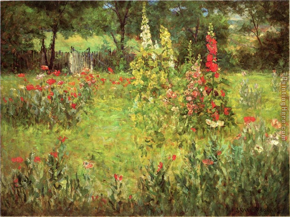 Hollyhocks and Poppies The Hermitage painting - John Ottis Adams Hollyhocks and Poppies The Hermitage art painting