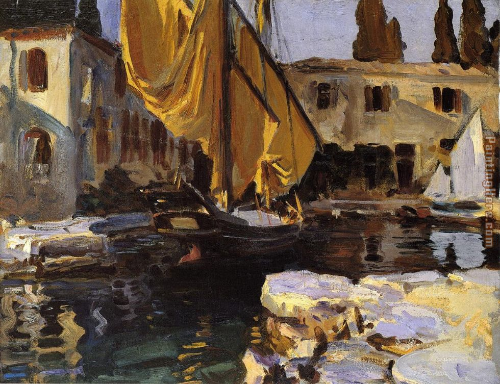 Boat with The Golden Sail San Vigilio painting - John Singer Sargent Boat with The Golden Sail San Vigilio art painting