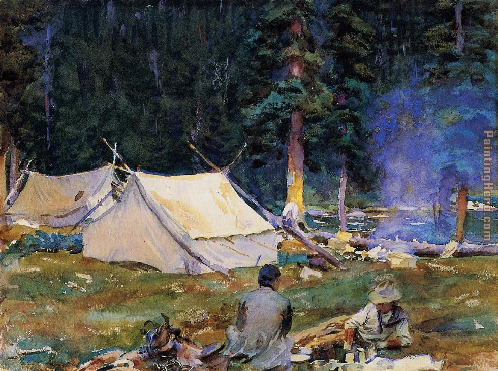 John Singer Sargent Camping at Lake O'Hara Art Painting
