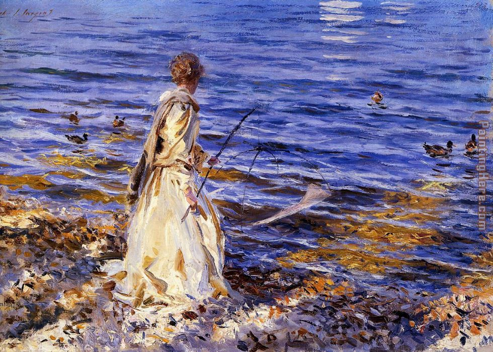 Girl Fishing painting - John Singer Sargent Girl Fishing art painting