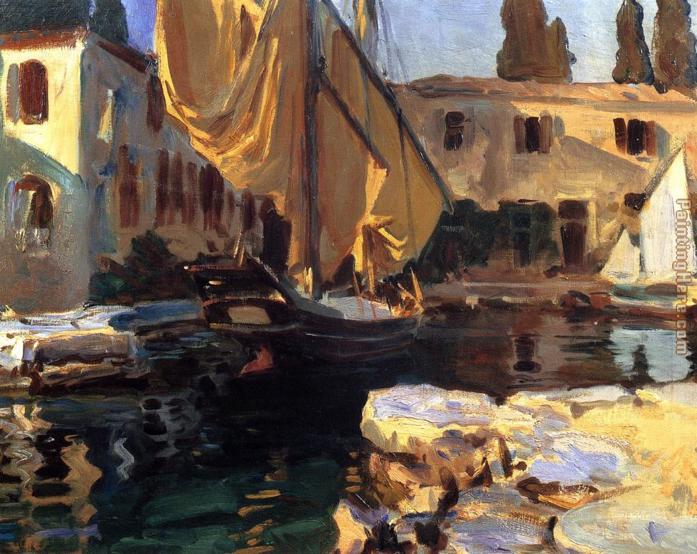 John Singer Sargent San Vigilio A Boat with Golden Sail Art Painting
