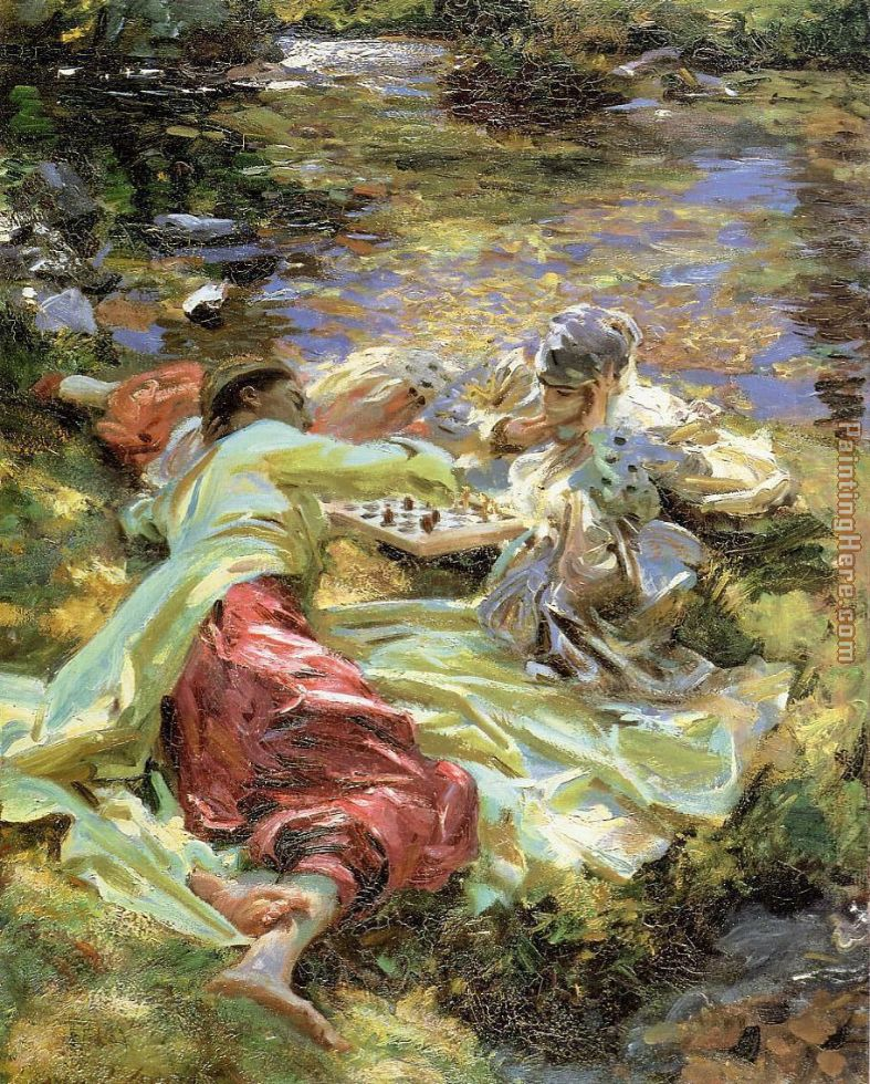 The Chess Game painting - John Singer Sargent The Chess Game art painting