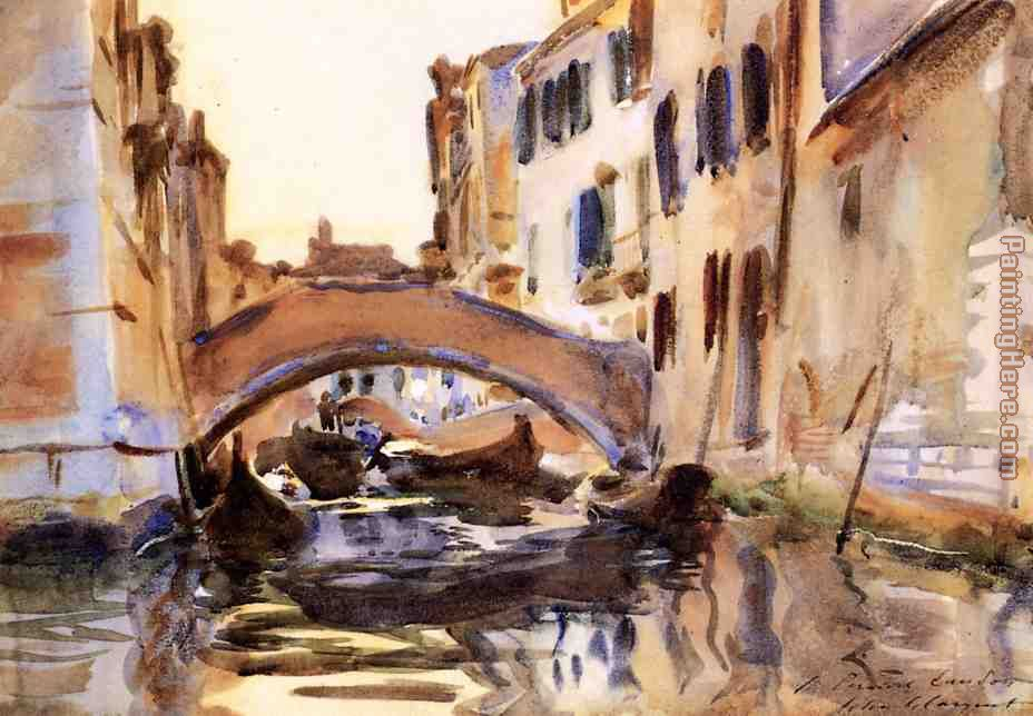 Venetian Canal painting - John Singer Sargent Venetian Canal art painting